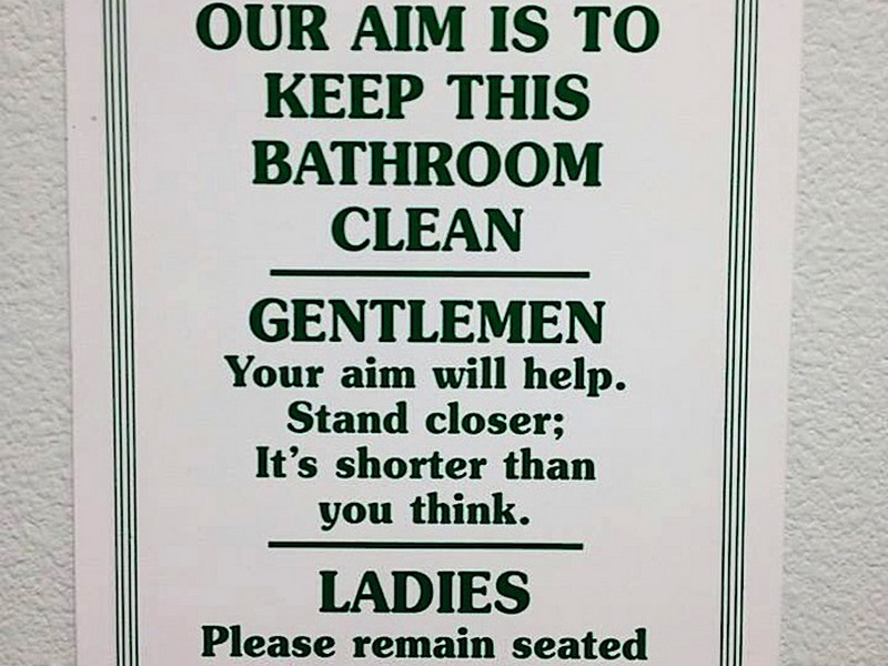 Keep Clean Bathroom Signs Funny