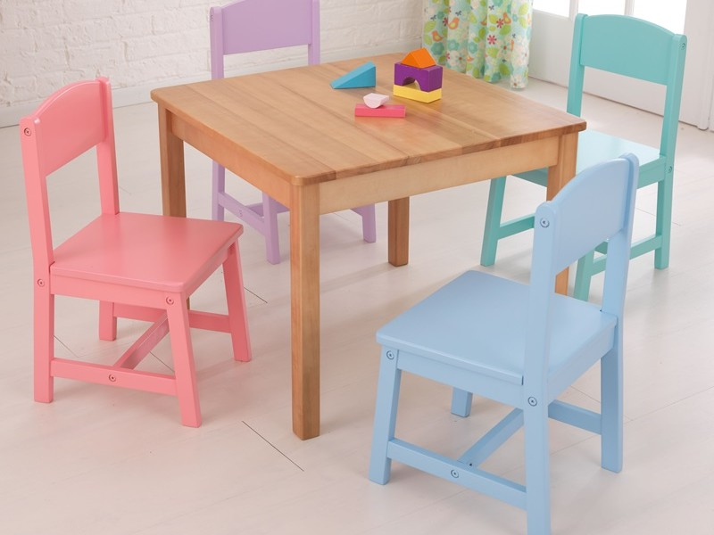 Kidkraft Farmhouse Table 4 Chair Set Pecan 21451