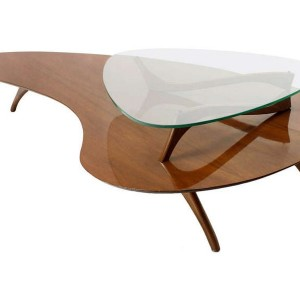 Kidney Shaped Coffee Table With Glass Top