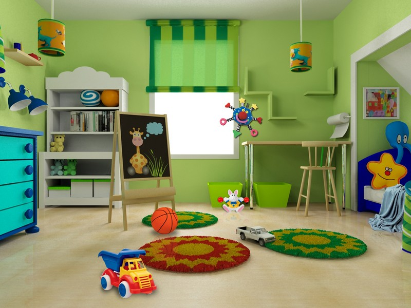 Great Green Wall Interior Ikea Kids Room Round Rug Simple Wooden Desk