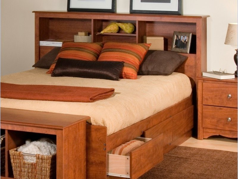 King Bookcase Headboard Oak