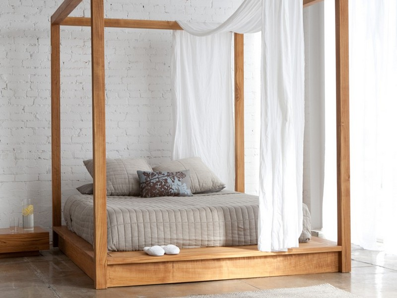 King Size Canopy Bed With Curtains