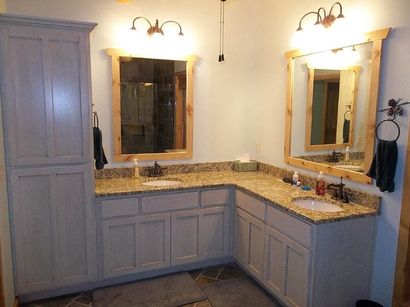 L Shaped Double Sink Bathroom Vanity