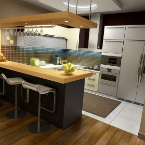 L Shaped Kitchen With Dining Table