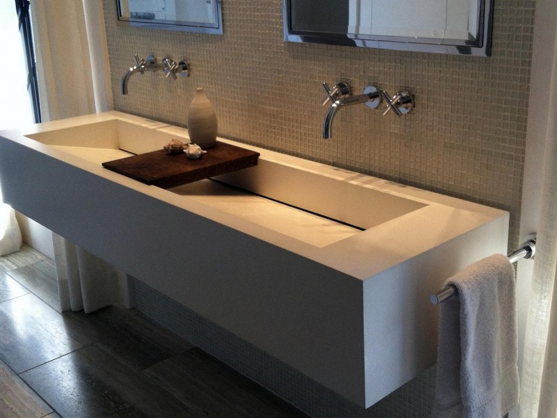 Large Bathroom Sinks With Two Faucets
