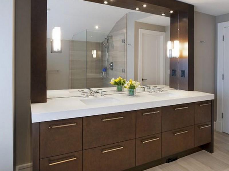 Large Espresso Bathroom Mirror