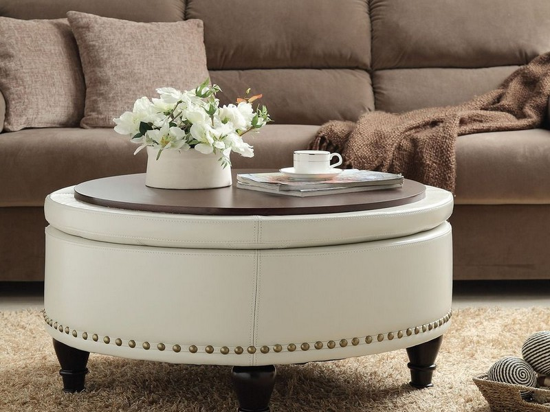 Large Round Cocktail Ottoman