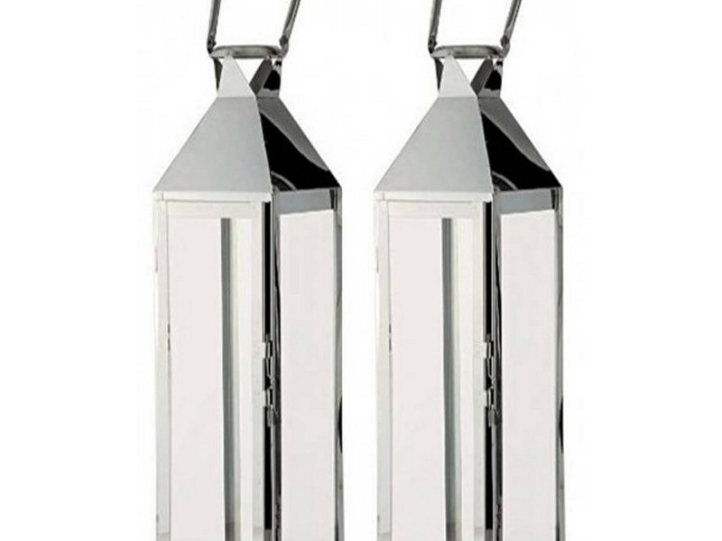 Large Silver Candle Lanterns