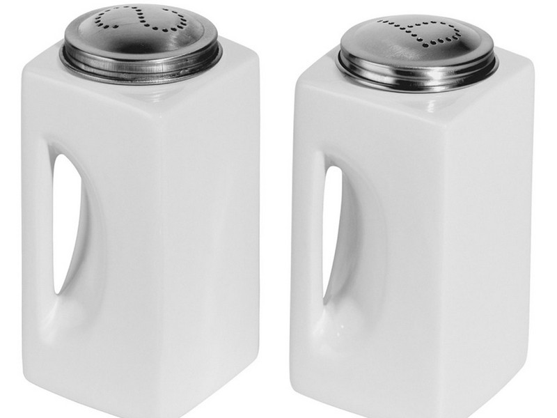 Large White Ceramic Salt And Pepper Shakers