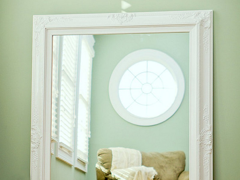 Large White Framed Bathroom Mirror