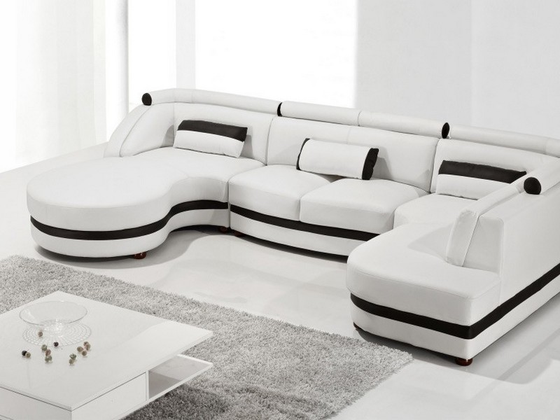 Leather And Cloth Sectional Sofas