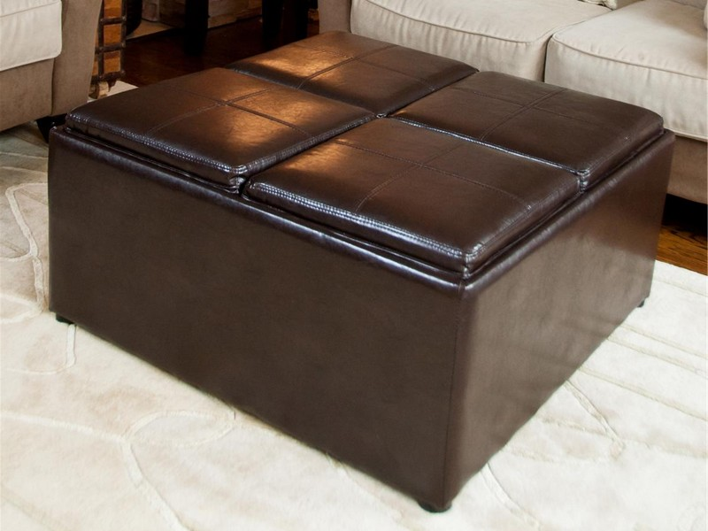 Leather Coffee Table With Storage And Trays
