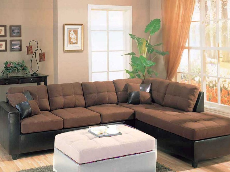Leather Couch Sectional Brown
