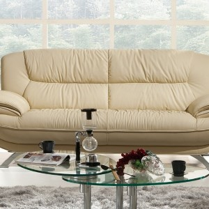 Leather Loveseat With Ottoman