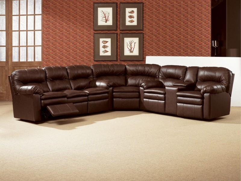 Leather Power Recliner Sectional