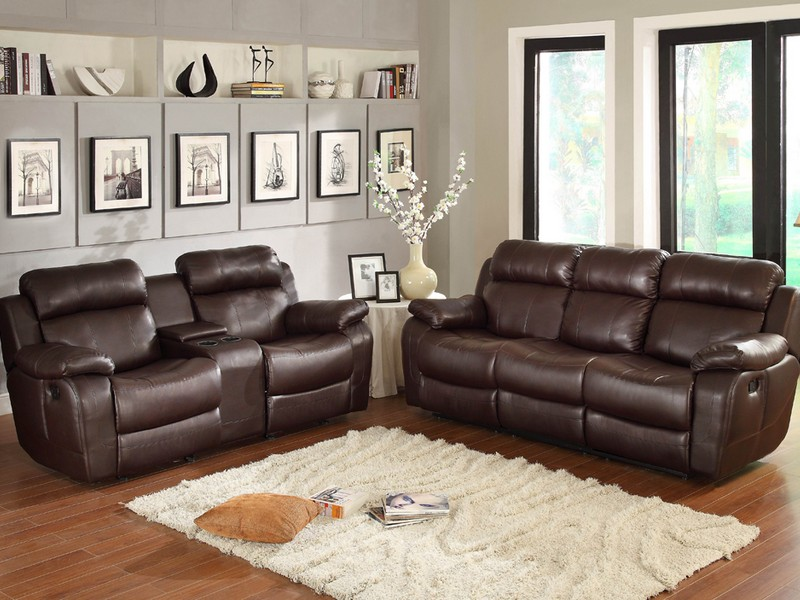 Leather Recliner Sofa With Cup Holders
