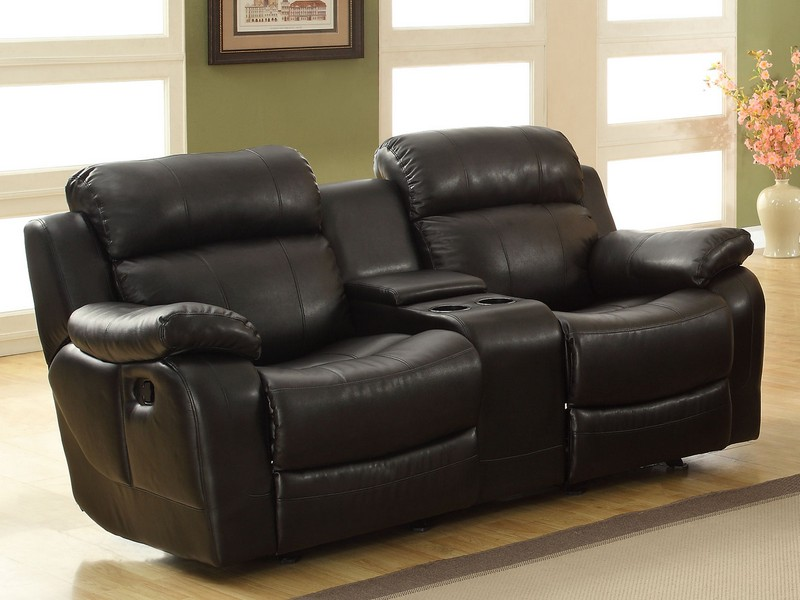 Leather Reclining Loveseat With Center Console