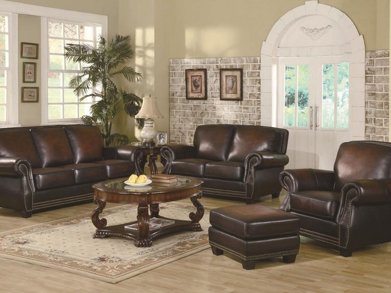 Leather Reclining Sofa With Fold Down Console