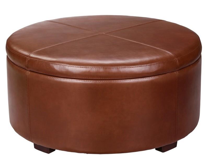 Leather Round Ottoman