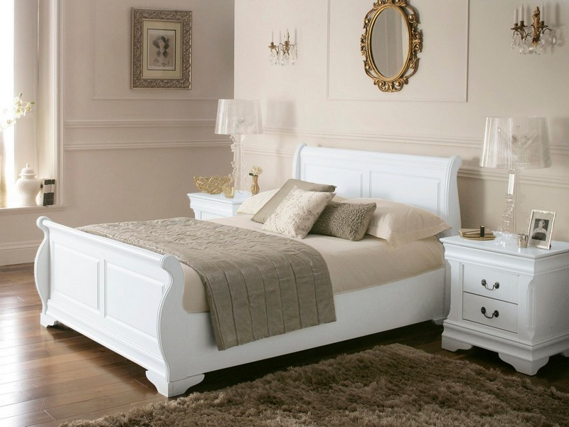 Leather Sleigh Bed King Size