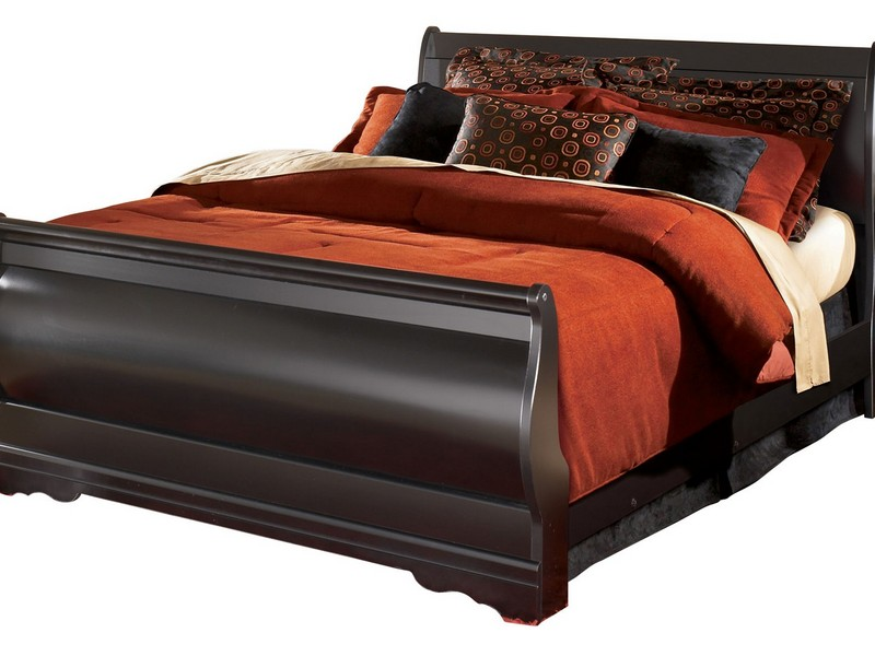 Leather Upholstered King Sleigh Bed