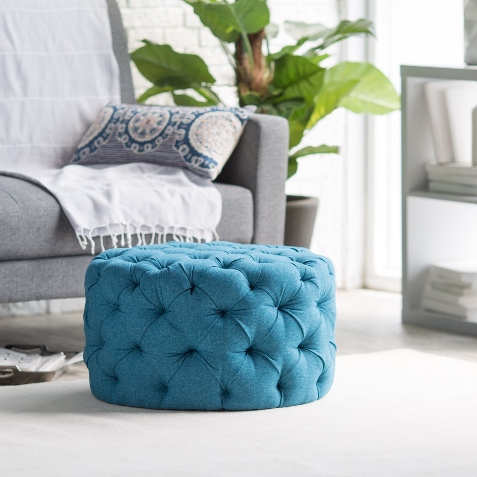 Light Blue Tufted Ottoman