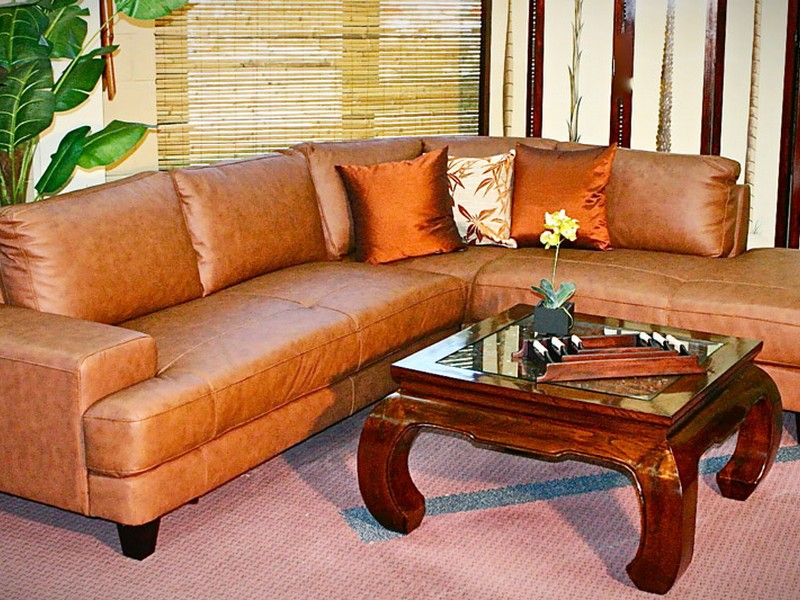 Light Brown Leather Sofa Set