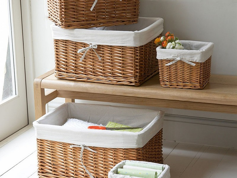 Linen Lined Wicker Baskets