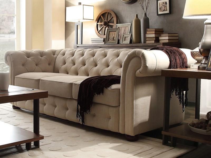 Linen Tufted Sofa