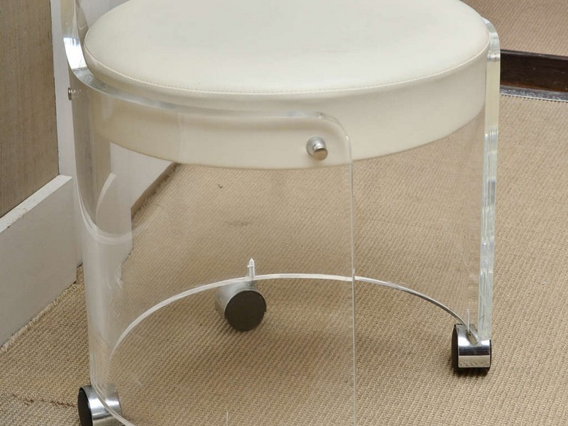 Lucite Vanity Stool On Wheels