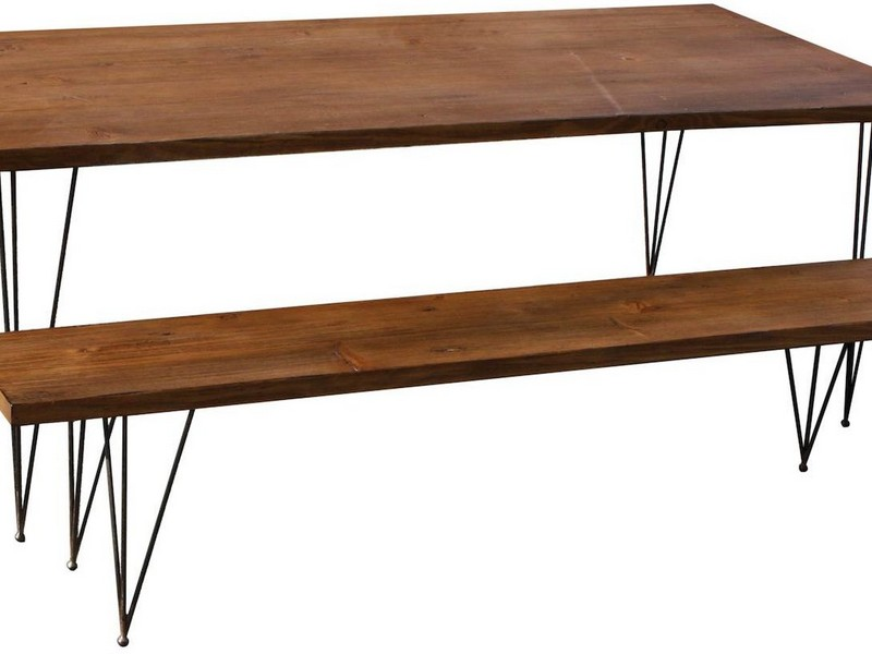Metal And Wood Dining Bench