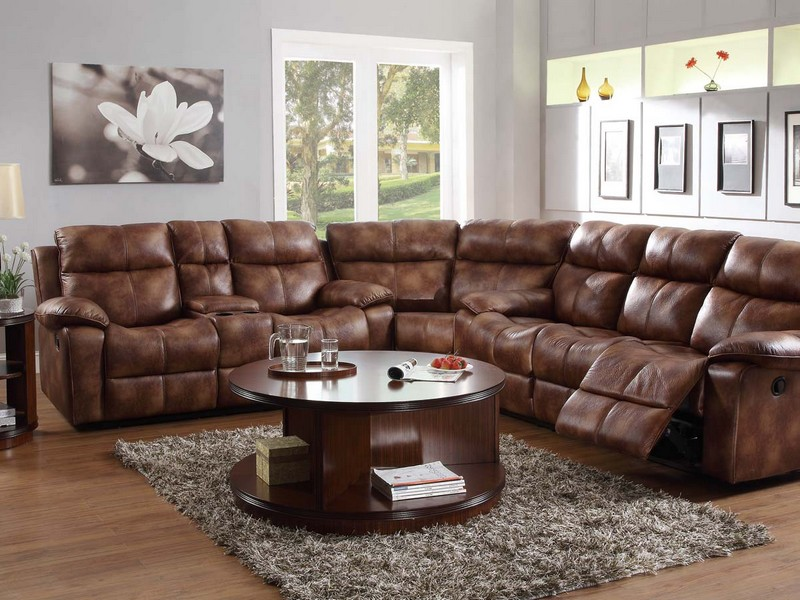 Microfiber Reclining Sectional Couch