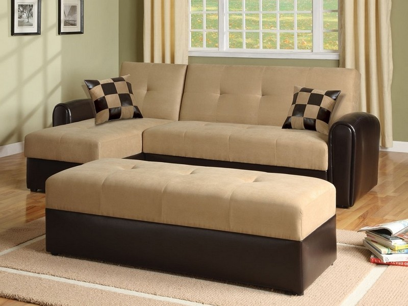 Microfiber Sofa Bed Sleeper Couch Set With Storage Chaise
