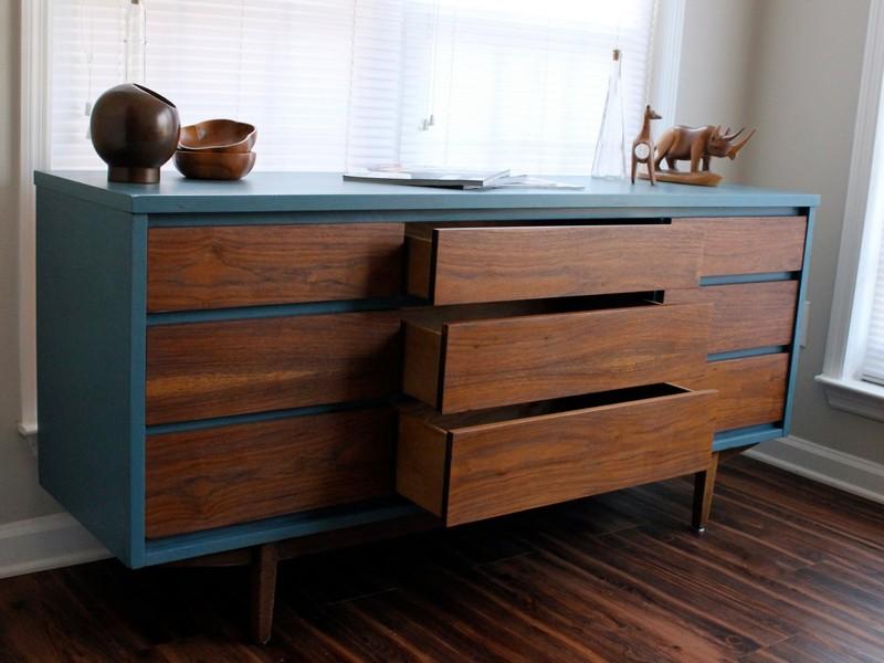 Mid Century Modern Dresser Painted