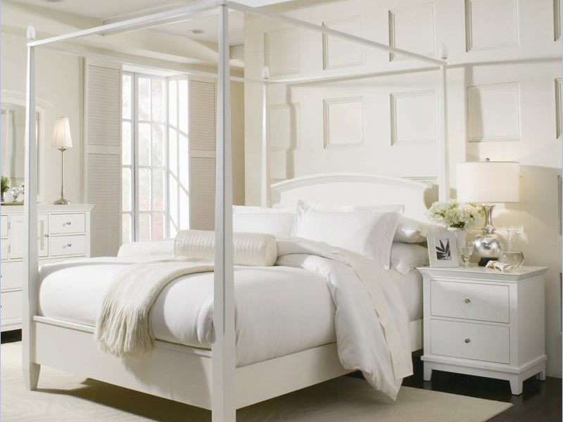 Modern White Four Poster Bed