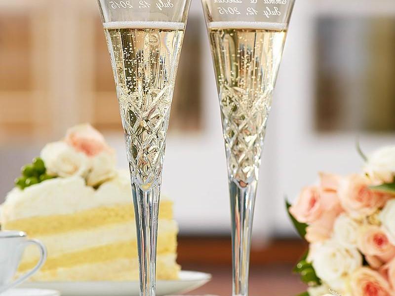 Monogrammed Champagne Flutes Wedding