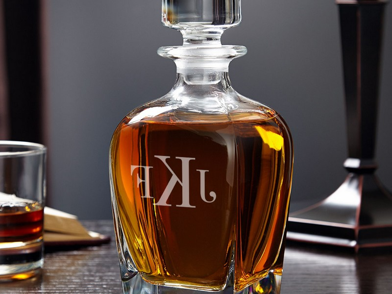 Monogrammed Whiskey Decanter And Glasses