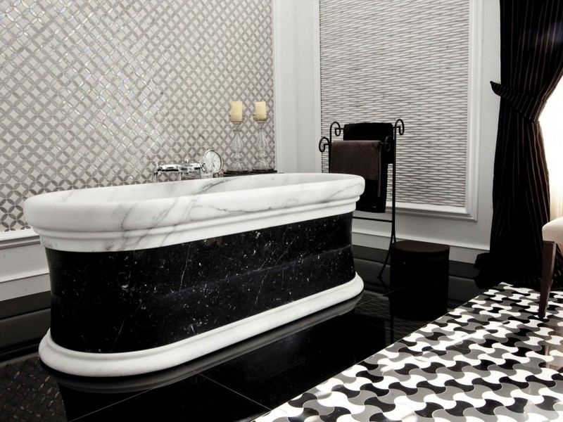 Mosaic Bathroom Floor Tile Black White
