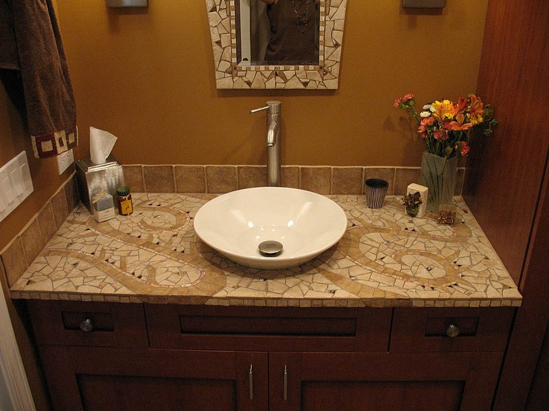 Mosaic Tile Bathroom Countertop