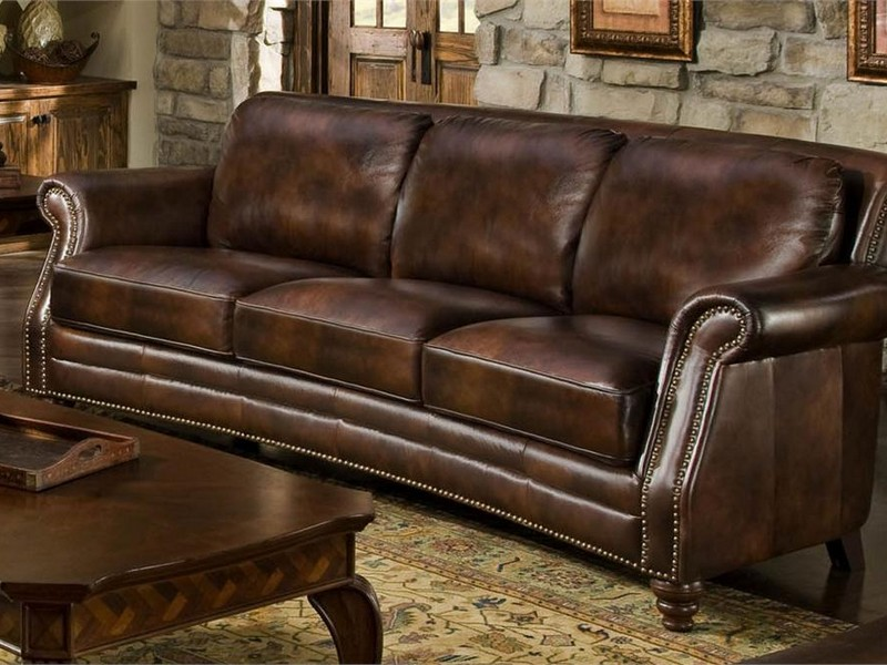Nailhead Leather Sofa