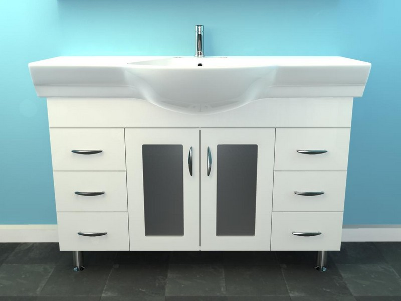 Narrow Depth Bathroom Vanity White