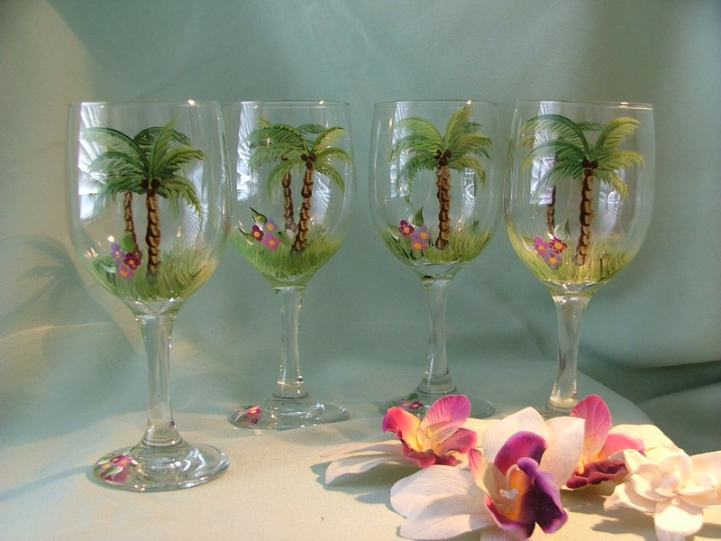 Nautical Painted Wine Glasses