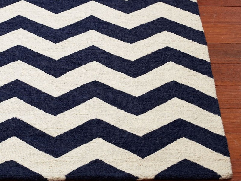 Navy And White Chevron Rug
