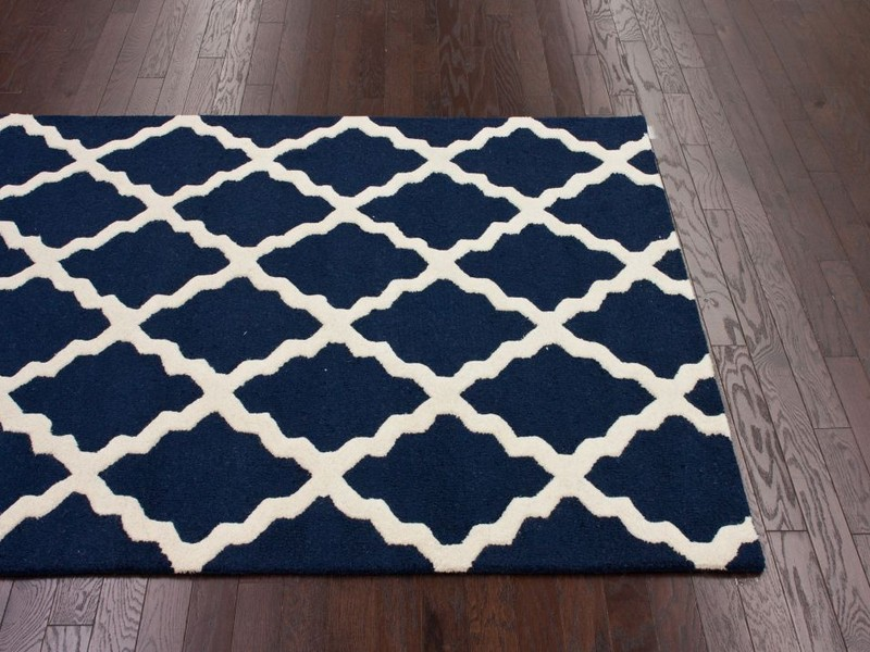 Navy Blue And White Rug