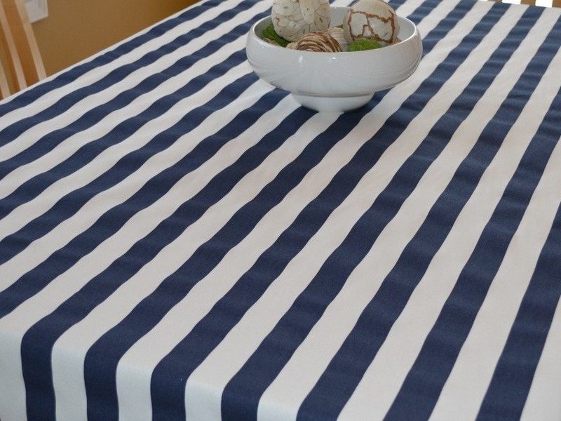 Navy Blue And White Striped Tablecloth