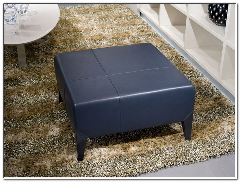 Navy Blue Leather Ottoman