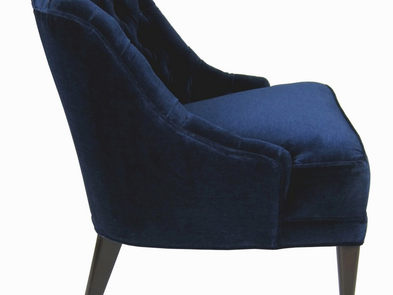 Navy Blue Velvet Wingback Chair