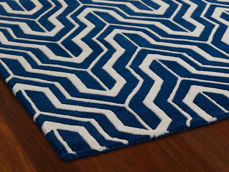 Navy Chevron Rug 5x7