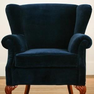 Navy Velvet Wingback Chair