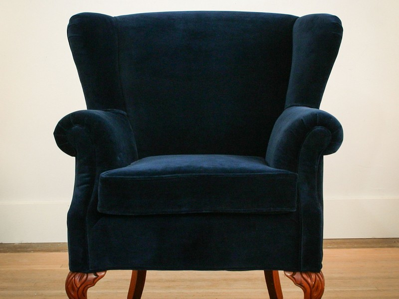 Navy Velvet Wingback Chair